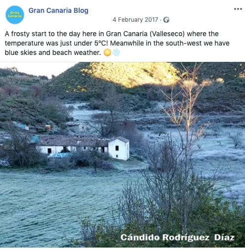 Gran Canaria Weather February Valleseco Frost 2017