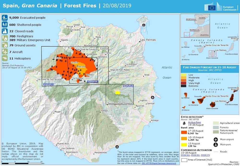 Gran Canaria Forest Fires 20 August 2019