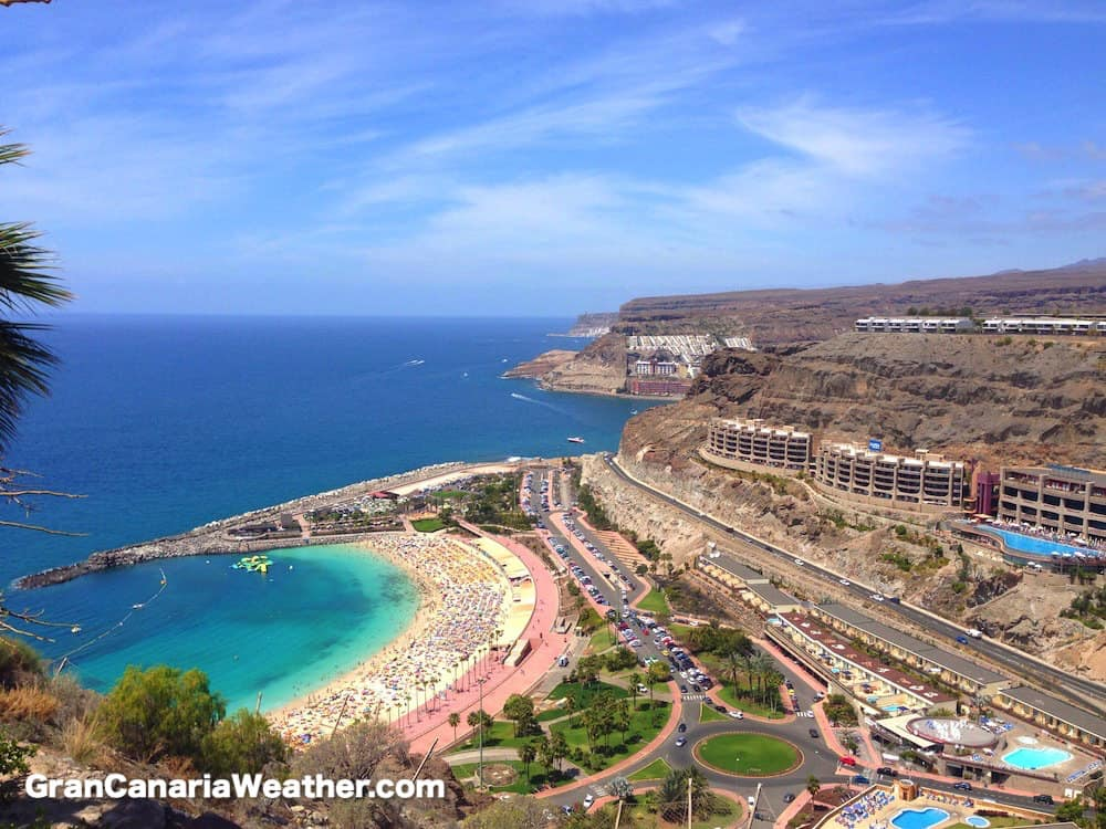 Gran Canaria Weather March Amadores Beach from above 2016