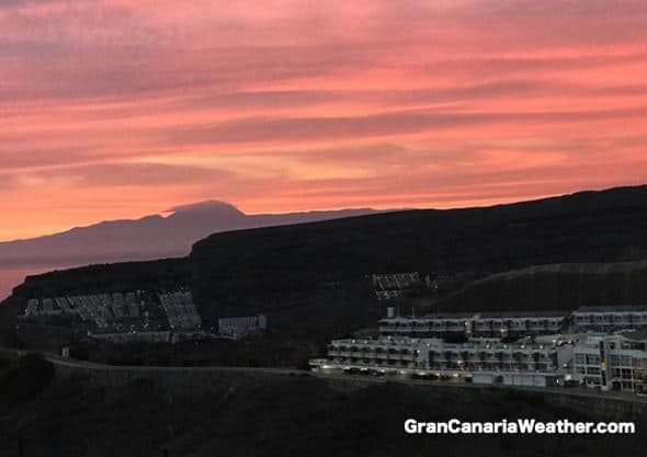 Gran Canaria Weather November Teide Volcano Sunset 2017