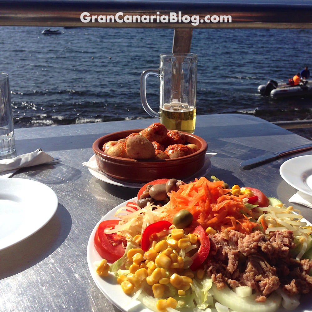 Tasarte Restaurant Salad and Canarian Potatoes by the sea